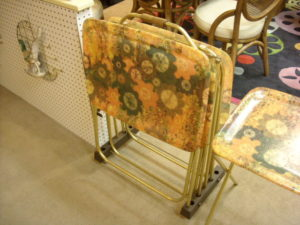 SOLD - Fiberglas trays w/cart